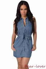 Sexy Women's Casual Short V Neck Wash Belted Denim Sleeveless Mini Shirt Dress