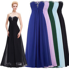 Sexy Beaded Strapless Chiffon Long Cocktail Evening Party Dress Black Blue 2-16