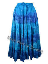 LADIES TURQUOISE BLUE TIE DYE GYPSY STYLE HIPPY BOHO PAGAN FESTIVAL SKIRT (796)