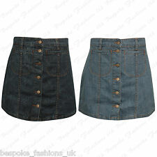Ladies Women's Button Front Pocket Denim Wash Jeans Look Short Mini Skirt 8-16