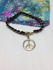LOVE PEACE SIGN HIPPIE COOL  CHARM GOLD or SILVER  LEATHER & CHAIN BRACELET  NEW