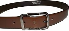Men's Leather Dressy Belt, Brown Leather Belt with Metallic Bronze Buckle #6 NWT