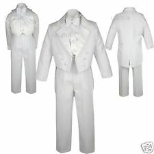 Infant Toddler Boy Formal Bow Tail Tuxedo Suit White Wedding Birthday Party S-20