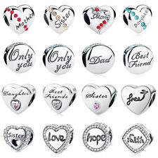 Mom Father Daughter Love 925 Sterling Silver Charms fit Charm Bead Bracelets