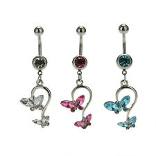 1Pcs Crystal Butterfly Dangle Ball Barbell Bar Belly Button Navel Ring Body ATAU