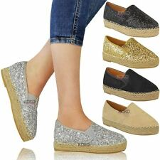 Womens Ladies Flat Espadrilles Low Wedge Slip On Glitter Platforms Shoes Size