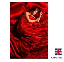 6 Pc SATIN COMPLETE BEDDING SET Silk Bed Duvet Cover Fitted Sheet 4 Pillows RED