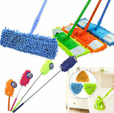 Extendable Microfibre Mop Super Cleaner Floor Sweeper Wet Dry Telescopic Handle