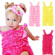 Baby Girls Summer Layered Lace Ruffle Petti Tiered Romper Climb Clothes M47