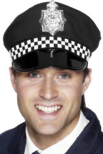 NEW POLICE MAN PANDA CAP HAT FRONT CHECK BAND BOBBY COP FANCY DRESS COSTUME HAT