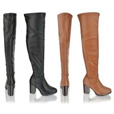 Womens Ladies block high heel over the knee thigh high black boots shoes size