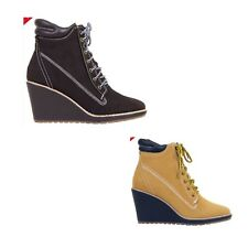 WOMENS LADIES WEDGE HIGH HEEL ANKLE LACE UP CLEATED SOLE ANKLE BOOTS SHOE SIZE