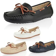 Womens Ladies Loafers Comfort Pumps Casual Smart Work Flat Boat Deck Shoes Size
