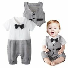 Baby Boy Wedding Formal Party Tuxedo Suit Romper Outfit+Vest Clothes Set 3-24M