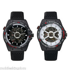 Men Transparent Automatic Skeleton Mechanical Watches Military Rubber Watch Gift