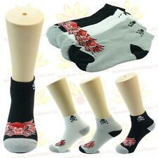 NEW 6 Pairs Ankle/Quarter Crew Mens Socks Cotton Low Cut Size 9-11 10-13 Skull