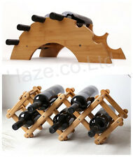 Wine Rack Tabletop Countertop Phyllostachys Wood Bottle Storage Holder
