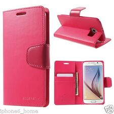 Genuine MERCURY Goospery Hot Pink Leather Flip Case Wallet Cover For Galaxy S6