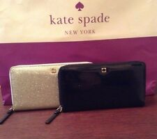 Kate Spade Neda Mavis St Glitter Bug Zip Around Wallet Choose Navy or Silver NWT