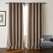Faux linen Striped Blackout Curtain Window Thermal insulated Treatment Drapes