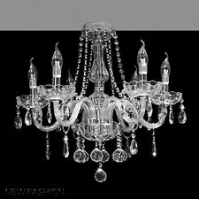 Modern 6-Lights Clear Glass Crystal Chandelier Ceiling Light Candle Pendant Lamp