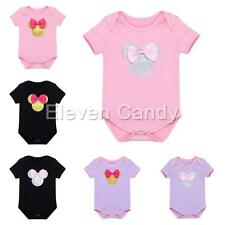 Newborn Baby Infant Girl Minnie Bow Romper Toddler Onesie Bodysuit Clothes 0-18M