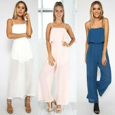 Lady Womens Chiffon Backless Jumpsuit Romper Evening Party Long Playsuit Pants