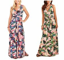 New Ladies Leaf Print Summer Holiday Long Maxi Dress in Pink Green Size UK 8-22