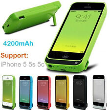 For iphone 5G 5S 5C 4200mAh External Power Bank Charger Pack Backup Battery Case