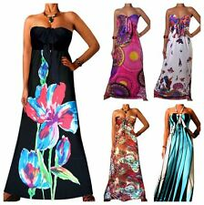 Angela Womens Summer Holiday Evening Long Boho Strapless Printed Maxi Dress