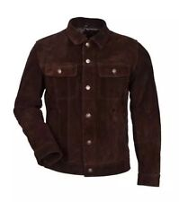 new mensTRUCKER BROWN SUEDE 1280 Classic Real Cowhide Western Leather Jacket