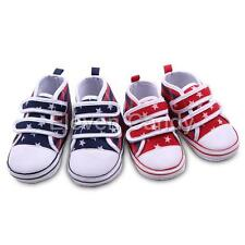 Baby Girl Boy Infant Star Stripe Canvas Sneakers Soft Sole Prewalkers Crib Shoes