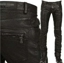 Chic Mens Pant Military Punk Rock Fashion Motorcycle Leather  Slim Fit Trousers