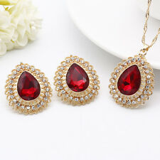 Retro Red Crystal Rhinestone Gold Pedant Necklace Earring Women Jewelry Set