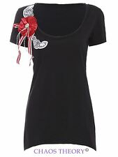 Womens Ladies Dress Floral Lace Detail Cotton Casual Top Short Sleeve