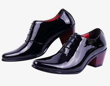 Fashion Mens 1.96 inch high chunky heel casual oxford patent leather dress shoes