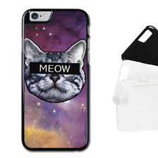 HARD CASE FOR ALL IPHONE MODELS - SPACE GALAXY MEOW CAT KITTY FUNNY JOKE HIPSTER