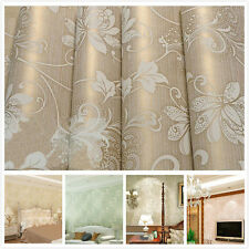 3D Flocking Rolls Floral Embossed Nonwoven 10m Wall paper Damask TV Textured