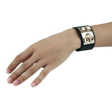 Hot Vintage Women Punk Stud Pyramid Metal Leather Wristband Bangle Bracelet Cuff