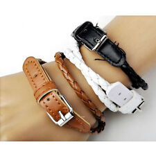 Mens Womens Korean Style Weaved PU Leather Double Wrap Belt Bracelet Wristband