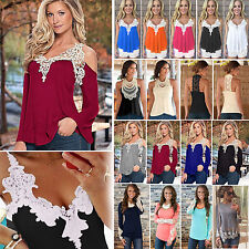 Womens Sexy Lace Crochet T-shirt Tee Tops Vest Casual Off Shoulder Loose Blouse