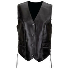 NWT Womens Ladies Solid Black Leather Casual Motorcycle Tour Vest  S M L XL 2X