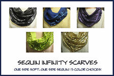 Women's Sequin Infinity Cowl Scarf! New, Ladies Fashion Gold Black Blue Purple