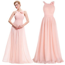 Pink Halter Long Prom Bridesmaid Cocktail Party Dress Formal Evening Ball Gown