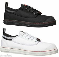 MENS DUNLOP VOLLEY SAFETY CANVAS AUS BLACK WHITE WORK TRADE VOLLEYS MEN'S SHOES