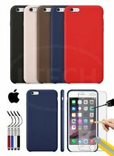 Apple iPhone 6S - Leather Hard Back Case Cover, Ret Stylus & Tempered GLASS