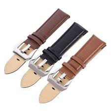 Genuine Leather Wrist Watch Strap Band Stainless Steel Buckle Straps 20-24mm