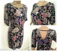 NEW EX NEW LOOK BLACK PINK PURPLE GREEN FLORAL PRINT TUNIC TOP SIZE 8 - 18