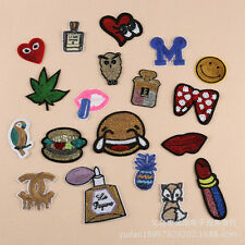 Smiling face sequins Hamburg lips Embroidered Patch iron/sew on badge DIY Cloth