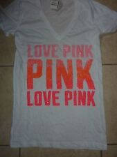 "VICTORIAS SECRET PINK BLING SEQUIN ""LOVE PINK"" VNECK TEESHIRT NWT"